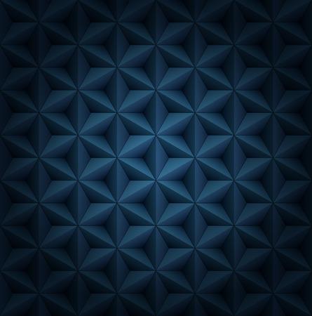 Volumetric polygonal star tiles dark blue luxury pattern with vignette.