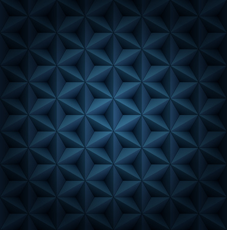 Volumetric polygonal star tiles dark blue luxury pattern with vignette.