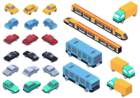 Vector Isometric car, bus, truck and train set isolated.