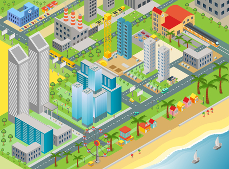 Isometric vector of city map with modern buildings and beach area with amusement park.