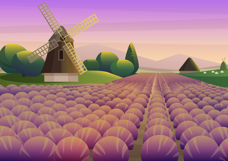 Colorful illustration with purple lavender field with old windmill on background of sunset sky. Banque d'images - 106992563