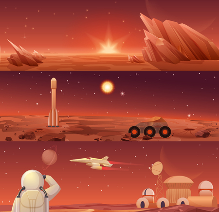 Red planet Mars colonization and exploration. Galaxy Mars landascape with rover, rocket shuttle, spacecraft and colony city base with astronaut horisontal templates banners. Vector Illustration