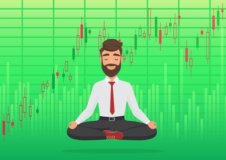 Trader homme heureux méditant sous le graphique en hausse de la crypto ou de la bourse. Trader d'entreprise, concept de graphique boursier finance. Marché boursier vert haussier croissant. Sentiment d'équilibre.