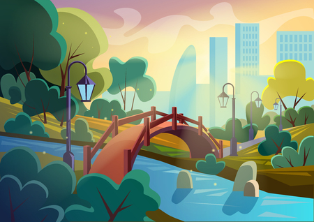 Bright vector image of summer autumn cartoon park with bridge across small river in sparkles with city on background. Game smooth design.