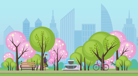 Spring summer public city park with sakura trees vector illustration.