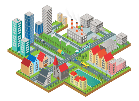 3d isometric three-dimensional modern city view. City with roads, skyscrapers, civil buildings and transport Illustration