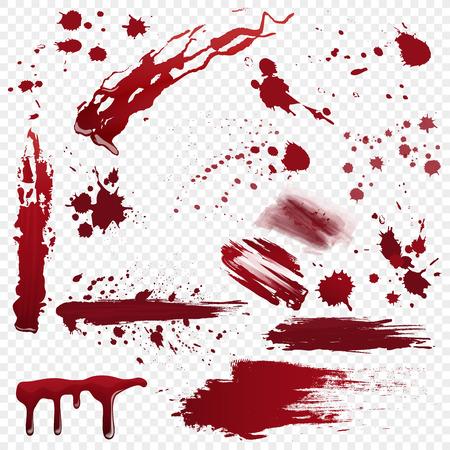 Conjunto de vector varias salpicaduras de manchas de sangre, sangre o pintura detalladas realistas aisladas en el fondo alfa transperant.