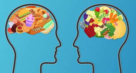 Unhealthy junk food and healthy diet comparison. Food brain modern concept Illustration