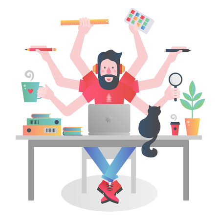 Colorful character of man with many hands holding different things and managing time while working at table with laptop