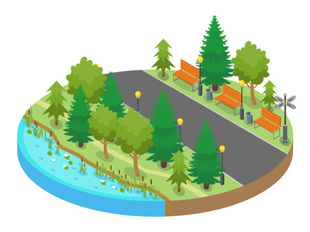 Colorful isometric round map location with park and strolling walkway with pond and trees
