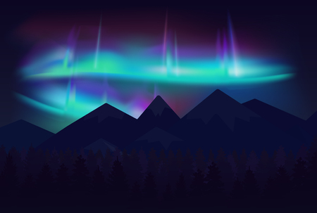 Vector beautiful northern lights aurora borealis in night sky over cartoon mountains
