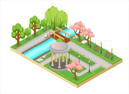 Ilustración tridimensional isométrica colorida del diseño del jardín oriental con callejón y puente Ilustración de vector