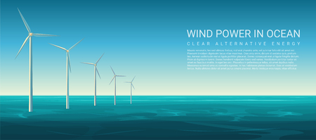 Vector Wind energy power concept poster header with wind turbines in ocean Banque d'images - 114784724