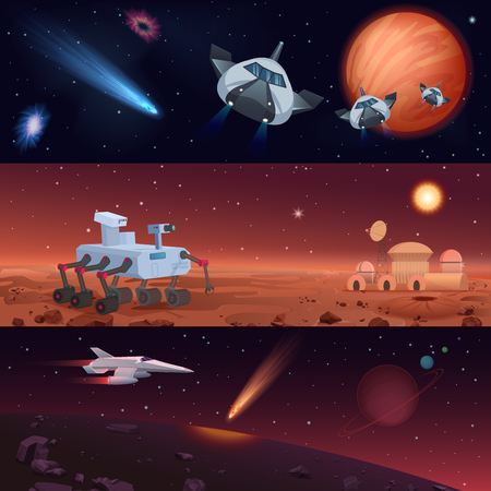 Set of vector illustrations of rover and spaceships carrying out mission of Mars and Universe exploration and conquest of stars and planets.