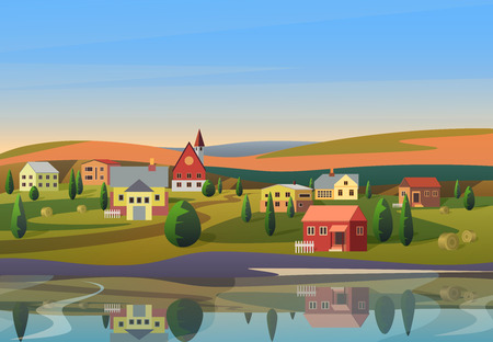 Vector of small town with houses on shore of river with hills under blue sky on background