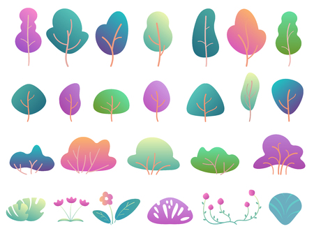 Flat trees and bushes in modern gradient flat design. Fantasy color park tree and bush Illustration