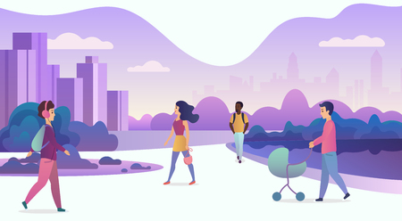 People life in modern eco city. Walking people in modern park with skyscrapers on the background. Trendy cartoon gradient color vector illustration Illustration