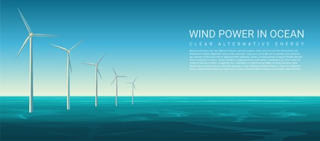 Vector Wind energy power concept poster header with wind turbines in ocean