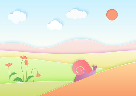 Trendy gradient color cuted paper summer landscape background with cute snail vector illustration Stock Illustratie