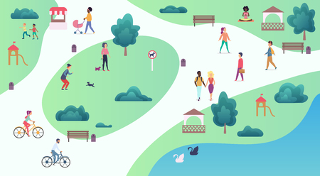 Top map view of various people at park walking and performing leisure outdoor sport activities. City park vector illustration Illustration