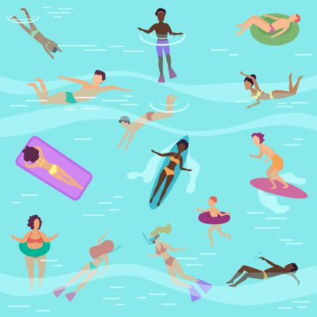 Vector flat cartoon people in sea or ocean swimming, diving, sunbathing on floating air mattres