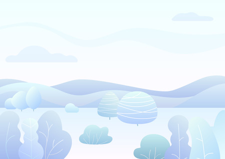 Fantasy simple winter forest landscape with cartoon curved trees, bushes trendy gradient color vector illustration