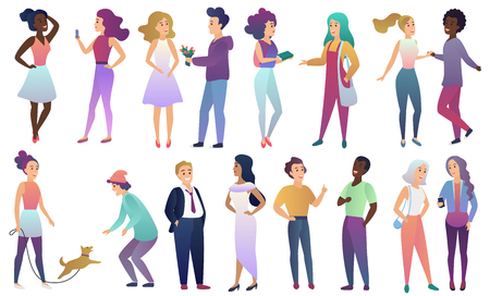 Vector set of young male and female people in casual clothes communicate with each other. Modern flat gradient color characters isolated