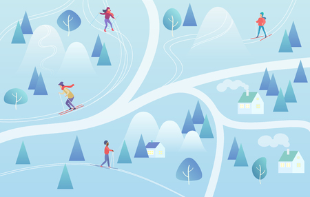 Ski Resort with Skiers. Mountain skiing map style background winter resort with people. Vector gradient color vector illustration.