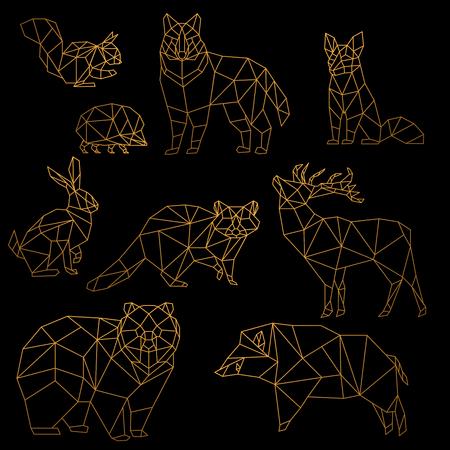 Ensemble d'animaux de ligne d'or de luxe low poly. Origami animaux de la ligne d'or poligonal. Ours loup, cerf, sanglier, renard, raton laveur, lapin et hérisson sur fond noir.