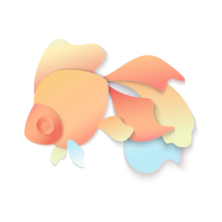 Vector Trendy gradient color cuted paper fish logo isolated on white background.