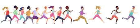 Jogging running people. Sport running group concept. People athlete maraphon runner race, various people runners group Illustration