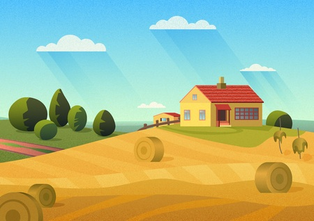 Colorful illustration of farmhouse in countryside with golden haystacks and blue sky with film noise effect.