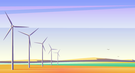 Vector illustration with rotation windmills for alternative energy resource in spacious field with blue sky