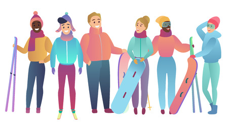 Group of cute cartoon skiers and snowboarders young people Trendy gradient flat color vector illustration
