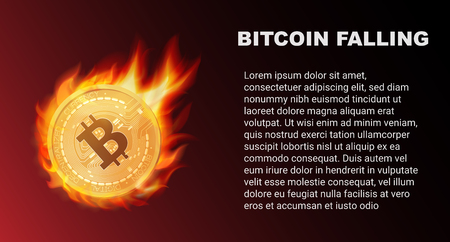 The falling of Bitcoin coin in fire. Red market. Bitcoin comet vector illustration.