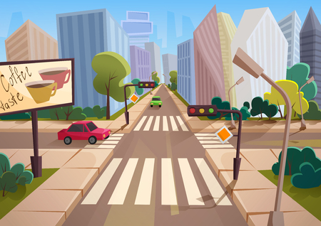 Trendy cartoon gradient style vector city with crossroad, road signs and cars