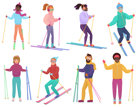 Skifahrer eingestellt. Männer und Frauen fahren Ski. Trendige flache Steigungsvektorillustration Vektorgrafik