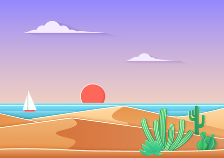 Cactus in the desert landscape with sea and ship in trendy gradient paper cuted art style. Desert near ocean sunset vector illustration.