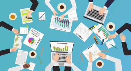 Teamarbeitskonzept. Top Office Desk View von Brainstorming, Geschäftstreffen. Hände mit Dokumenten und Laptops Vektor-Illustration