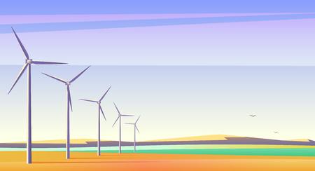 Ilustracja wektorowa z rotacyjnymi wiatrakami dla alternatywnego źródła energii w przestronnym polu z niebieskim niebem