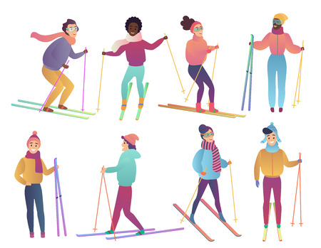 Group of cute cartoon skiers. People ski. Trendy gradient flat color vector illustration