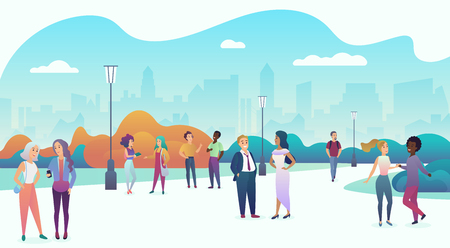 People gathering and communicating in the city urban park square landscape. Talking in nature together, community and modern lifestyle concept. Trendy gradient flat color vector illustration