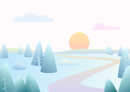 Fantasy minimalistic winter road river landscape with cartoon curved trees, trendy gradient color vector illustration