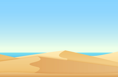 Trendy soft flat gradient color style landscape with desert and ocean sea beach vector illustration