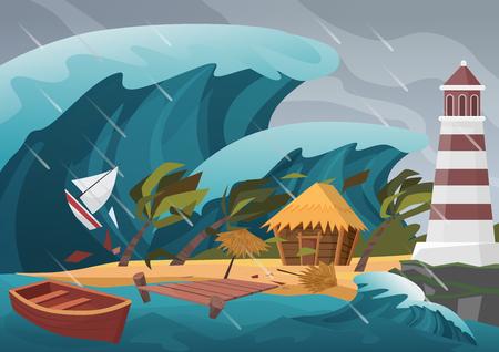 Forte catastrophe naturelle avec pluie et vagues de tsunami de l'océan avec quai en bois, maison, palmiers et phare.