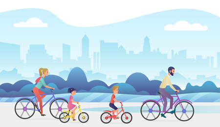 Active family outside vacation trip. Father, mother, daughter and son are riding bicycles in city park. Trendy gradient color vector illustration.