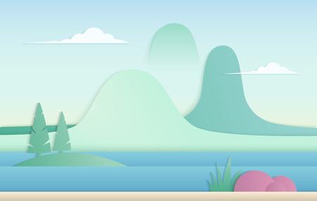 Vector trendy gradient color nature illustration. Mountains with river paper cut landscape