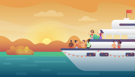 Smiling people friends making party on yacht ferry ship at sunset. Ocean vacation, sea travel and friendship concept vector illustration