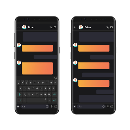 Smartphone dark style chatting template with empty chat bubbles. Vector sms chat mockup dialogues composer