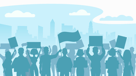 Silhouette crowd of people protesters. Protest, revolution, conflict in city. Flat vector illustration